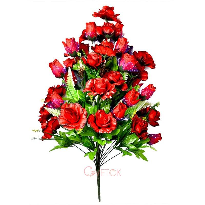 Букет розы искусственный раскрытой с бутоном M-1