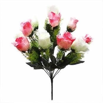 Букет розы искусственный с фатином M-33