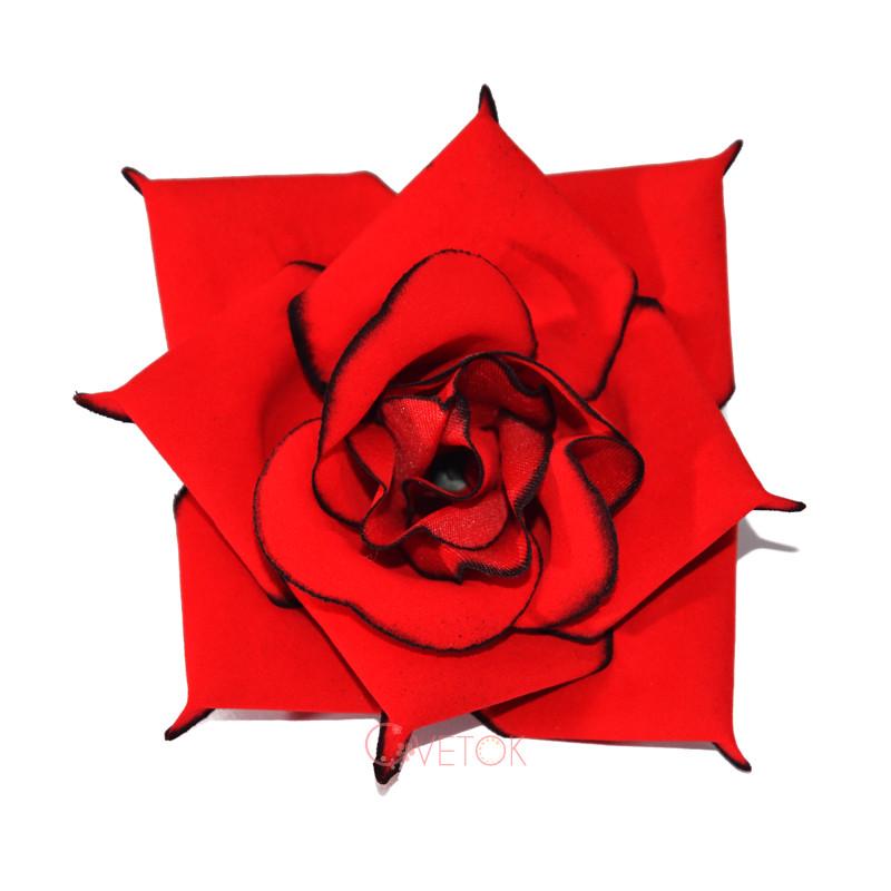 Голова розы искусственная бархатной R-4