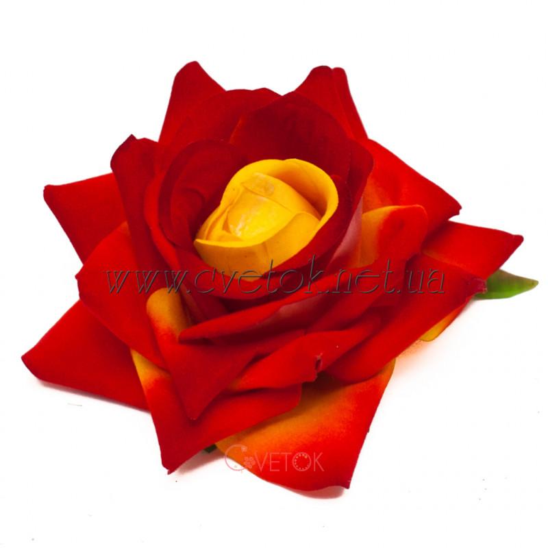 Голова розы искусственная бархатная J-026B