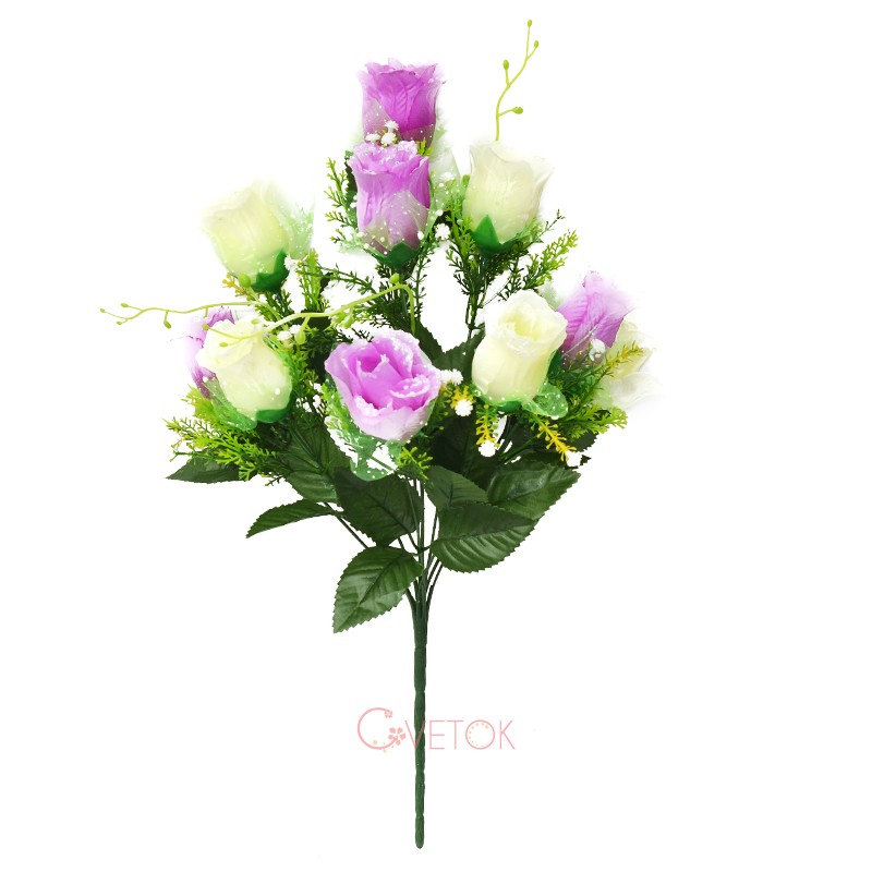 С - 53/10 Букет розы бутон с фатином
