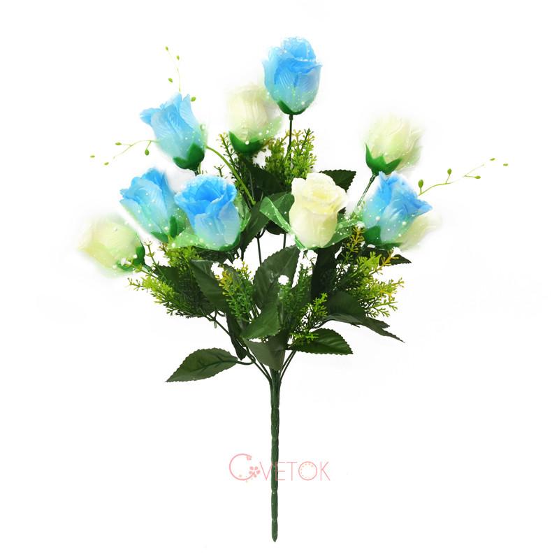 С-53/10 Букет розы бутон с фатином