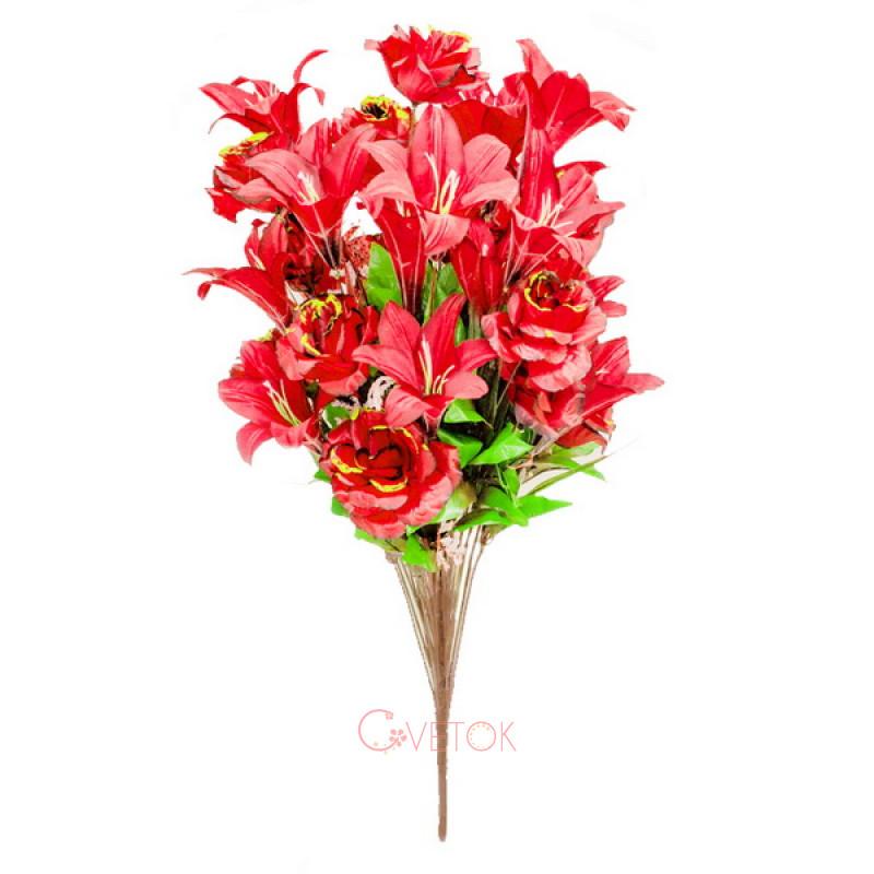 Букет лилии искусственный с розой большой B-14