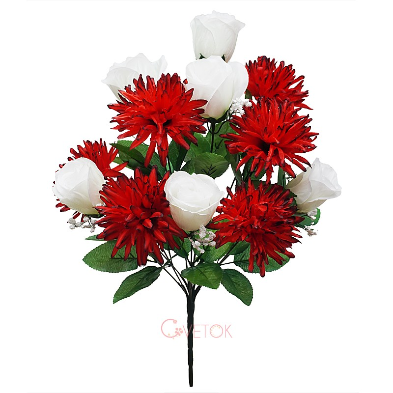 Букет розы искусственный и хризантемы C-16-77