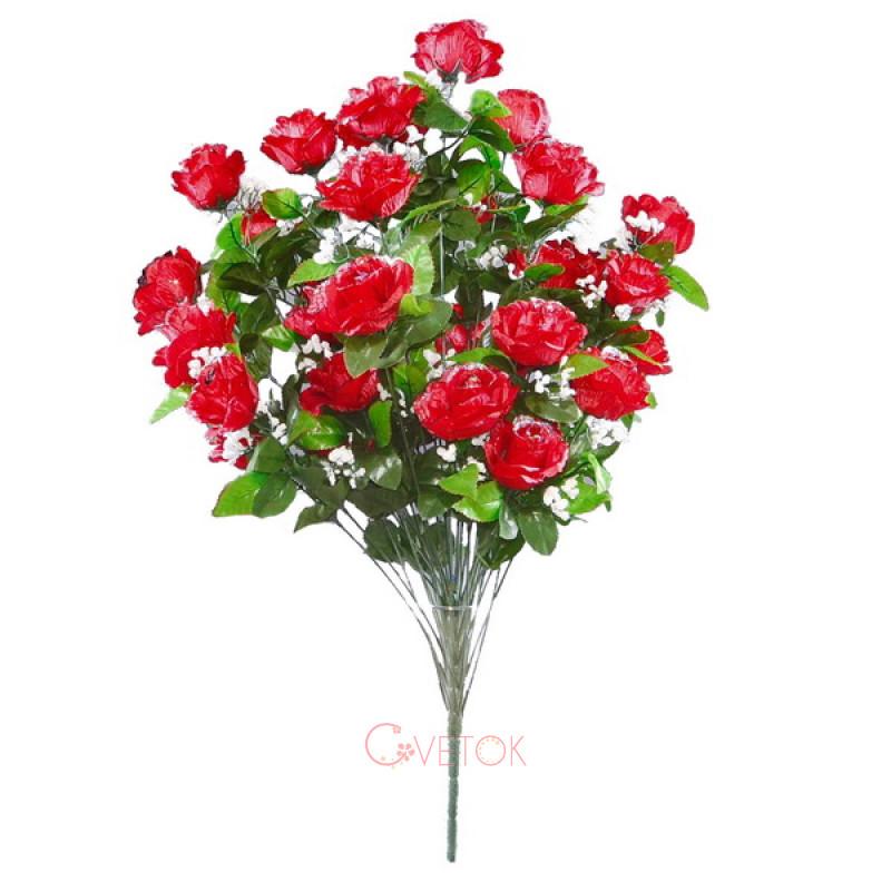 С - 26 В /36 роза раскрытая с гипсофилом