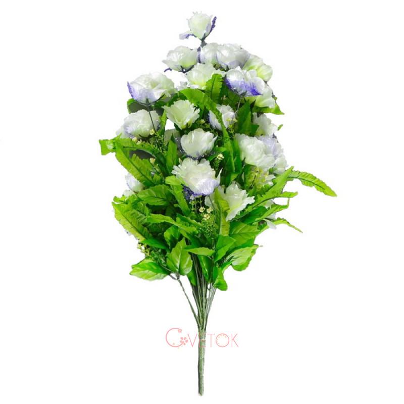 С - 27 /36 роза бутон и раскрытая с папоротником