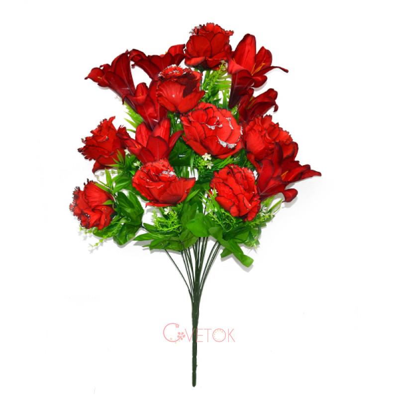 Букет розы искусственный с лилией С-173